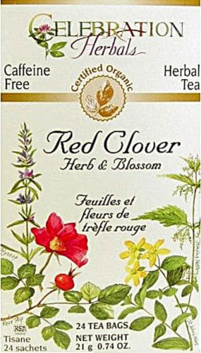 Celebration Herbals  Organic Red Clover Herb and Flower Tea Caffeine Free Perspective: front