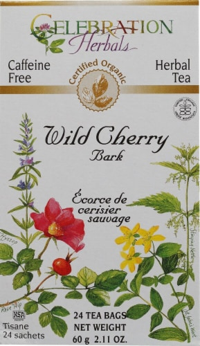 Celebration Herbals  Organic Wild Cherry Bark Tea Caffeine Perspective: front