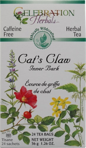 Celebration Herbals  Herbal Tea Caffeine Free Cat's Claw Inner Bark Perspective: front