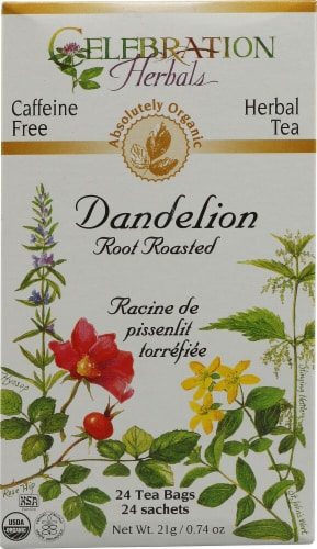 Celebration Herbals  Organic Dandelion Root Roasted Tea Caffeine Free Perspective: front