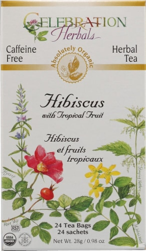 Celebration Herbals  Organic Hibiscus with Tropical Fruit Tea Caffeine Free Perspective: front