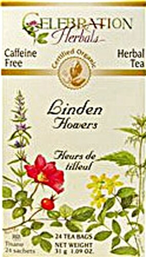 Celebration Herbals  Organic Linden Flowers Tea Caffeine Free Perspective: front