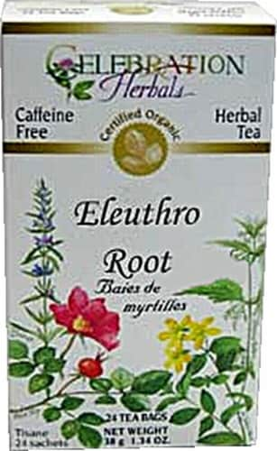 Celebration Herbals  Organic Ginseng Eleuthero Root Tea Caffeine Free Perspective: front