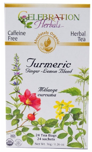 Celebration Herbals Organic Ginger-Lemon Blend Turmeric Tea Perspective: front