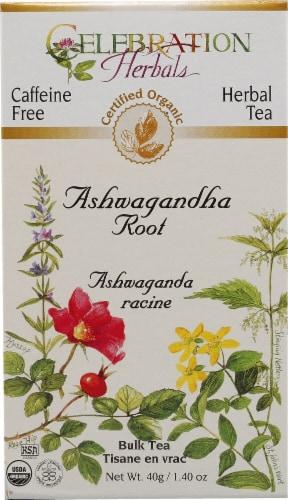 Celebration Herbals  Organic Herbal Tea Caffeine Free Ashwaganda Root Perspective: front