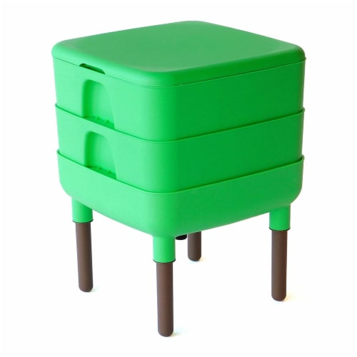 FCMP Outdoor Essential Living 6 Gallon Worm Composter Bin w/ Garden Trays, Green Perspective: front