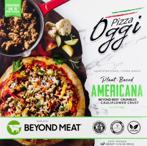 Oggi Americana Beyond Beef Crumbles and Roasted Vegetables on Cauliflower Crust Pizza Perspective: front