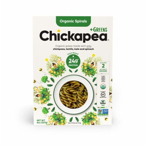 Chickapea +Greens Organic Spiral Pasta Perspective: front