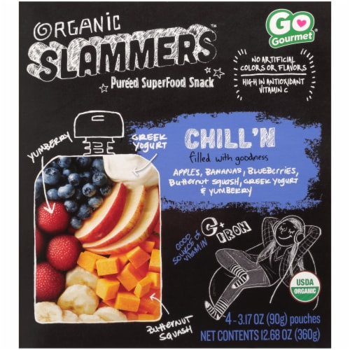 Organic Slammers Chill'n Yumberry Banana Blueberry Superfood Snack Pouch Perspective: front