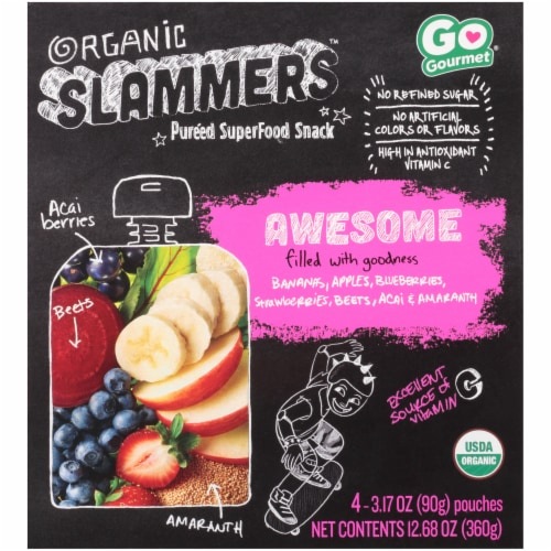 Organic Slammers Awesome Acai Strawberry Superfood Snack Pouch Perspective: front