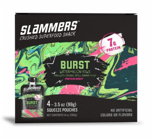 Go Gourmet Slammers Burst Watermelon Kiwi Crushed Superfood Snacks Perspective: front