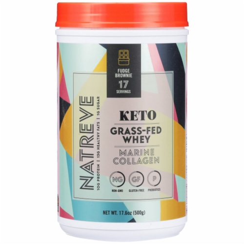 Natreve Fudge Brownie Flavored Keto Grass-Fed Whey Marine Collagen Powder Supplement Perspective: front
