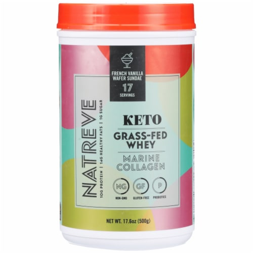 Natreve Keto Grass-Fed Whey French Vanilla Wafer Sundae Marine Collagen Perspective: front