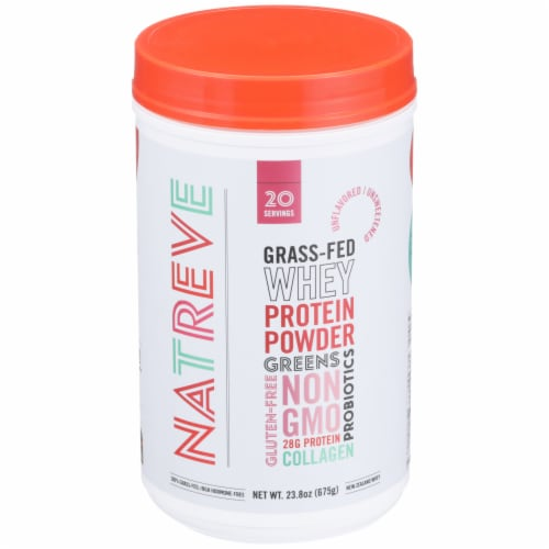 Natreve Unflavored Gluten-Free Grass-Fed Whey Protein Powder with Probiotics Perspective: front