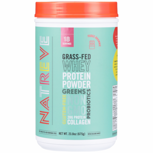 Natreve Fudge Brownie Gluten-Free Grass-Fed Whey Protein Powder with Probiotics Perspective: front