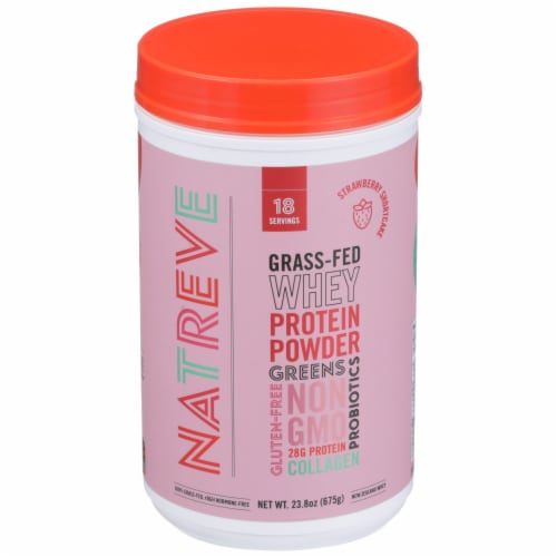 Natreve Strawberry Shortcake Grass-Fed Whey Protein Powder Perspective: front