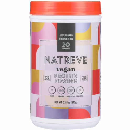 Natreve Unflavoured & Unsweetened Vegan & Plant-Based Protein Powder Perspective: front