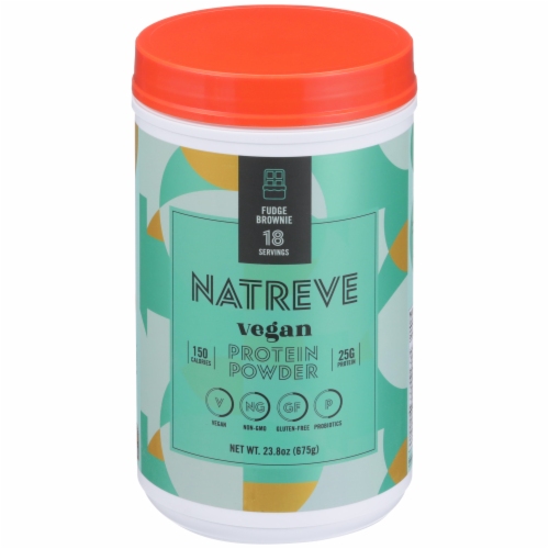 Natreve Fudge Brownie Vegan Protein Powder Perspective: front