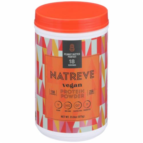 Natreve Peanut Butter Parfait Vegan Plant-Based Protein Powder Perspective: front