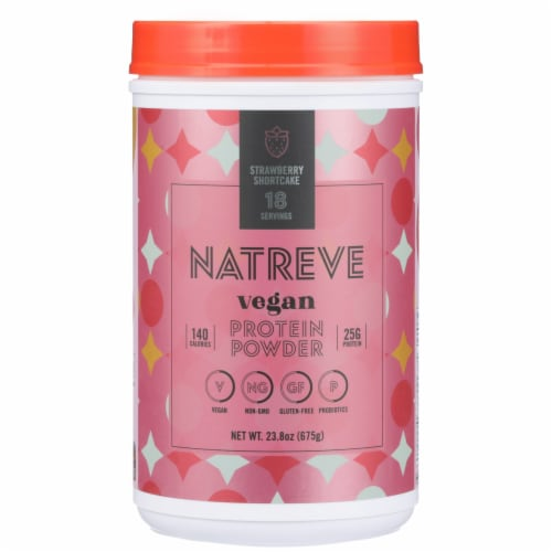Natreve Strawberry Shortcake Vegan Plant-Based Protein Powder Perspective: front