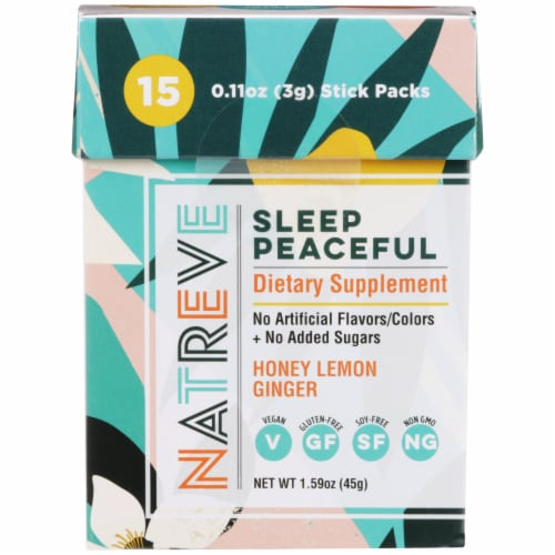 Natreve Honey Lemon Ginger Sleep Peaceful Dietary Supplement Stick Packs Perspective: front