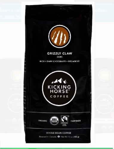 Kicking Horse Coffee Grizzly Claw Whole Bean Coffee Perspective: front