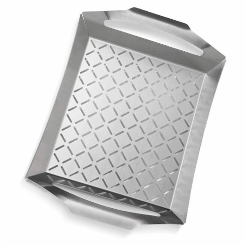 Napoleon PRO Stainless Steel BBQ Grill Basket Topper Tool for Veggies & Meat Perspective: front