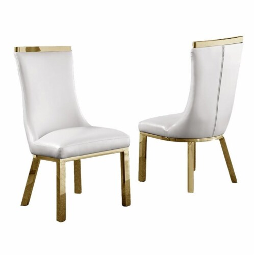 White Faux Leather Upholstered Side Chair with Gold Stainless Steel Legs Perspective: front