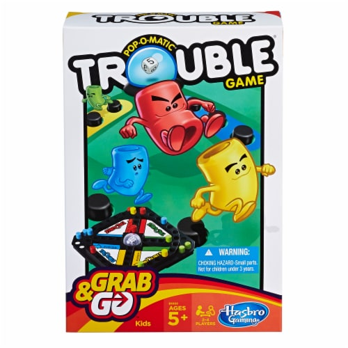 Hasbro Gaming Pop-O-Matic Trouble Grab & Go Game Perspective: front
