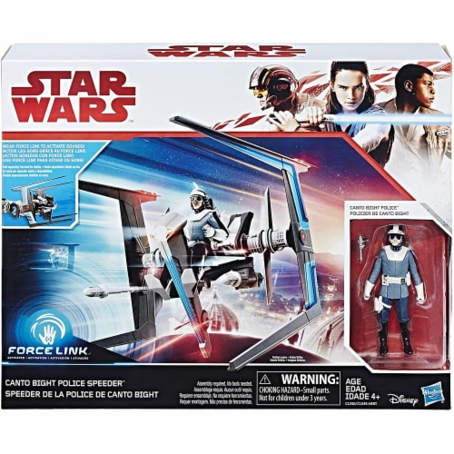 Hasbro Star Wars Force Canto Bight Police Speeder & Action Figure Perspective: front