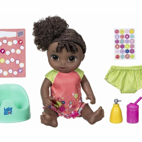 Hasbro 30373850 African American Black Curly Hair Baby Alive Potty Dance Baby Perspective: front