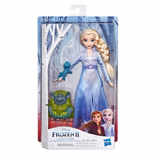 Frozen 2 Elsa Fashion Doll and Pabbie and Salamander Figures Perspective: front