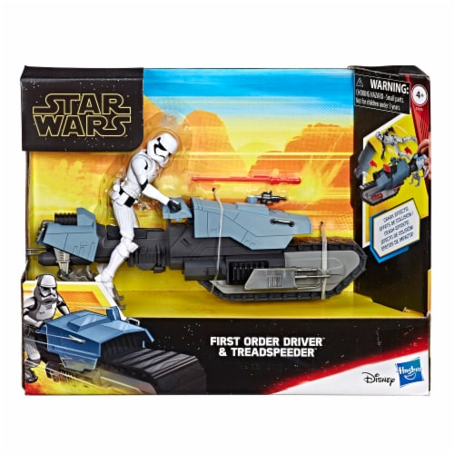 Hasbro Star Wars Galaxy of Adventures First Order Driver and Treadspeeder Toy Perspective: front