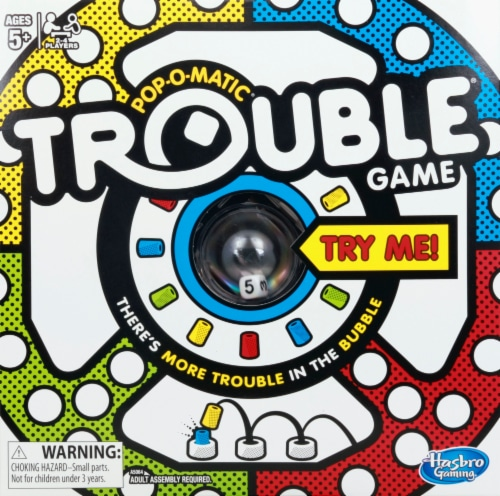 Hasbro Gaming Pop-O-Matic Trouble Board Game Perspective: front