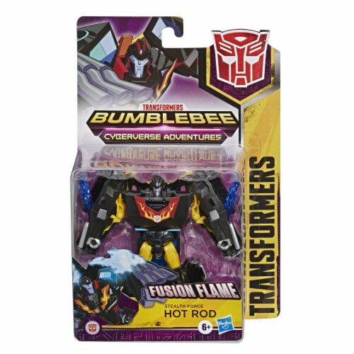 Transformers Bumblebee Cyberverse Adventures Stealth Force Fusion Flame Hot Rod Action Figure Toy Perspective: front