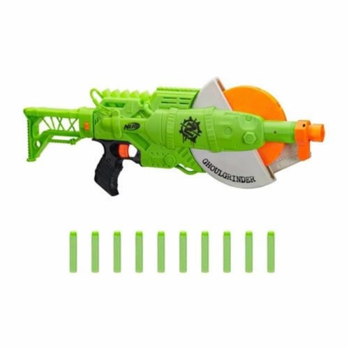 Hasbro HSBE6184 Nerf - Zombie Ghoulgrinder 10-Dart Rotating Blaster - Pack of 4 Perspective: front