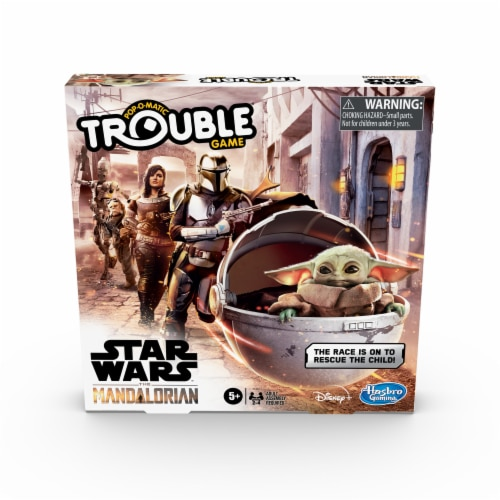Hasbro Trouble: Star Wars The Mandalorian Edition Board Game Perspective: front