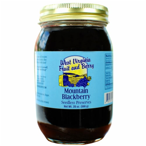 West Virginia Fruit and Berry Mountain Blackberry Seedless Preserves Perspective: front