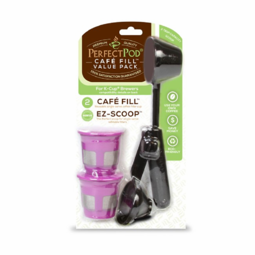 Perfect Pod Refillable Single Serve Cafe-Fill and EZ-Scoop Value Pack Perspective: front