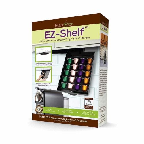 EZ-Shelf Coffee Pod Holder Under Cabinet Drawer Storage Organizer (for Nespresso Original Lin Perspective: front