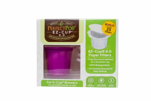 EZ-Cup 2.0 Starter Pack Reusable Coffee Capsule with Disposable Paper Filters Perspective: front