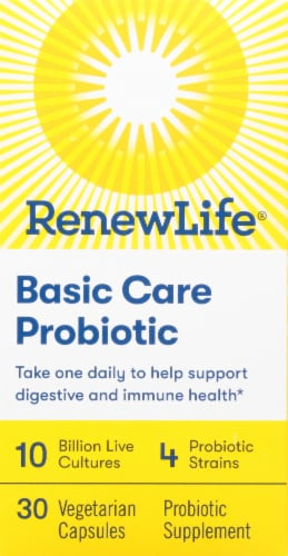 Renew Life Basic Care Probiotic Supplement Capsules Perspective: front