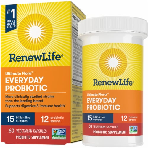 Ultimate Flora RenewLife Everyday Probiotic Vegetarian Capsules Perspective: front