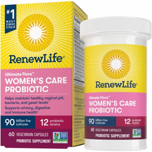 Renew Life Ultimate Flora Women's Care Probiotic Capsules Perspective: front