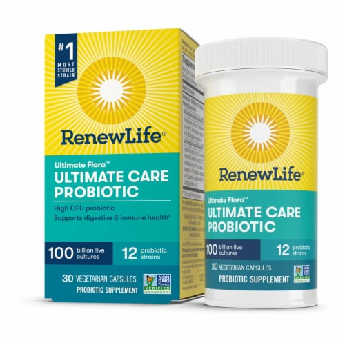 Ultimate Flora RenewLife Ultimate Care Probiotic Vegetarian Capsules Perspective: front
