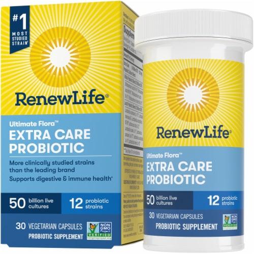ReNew Life Extra Care Probiotics Capsules Perspective: front