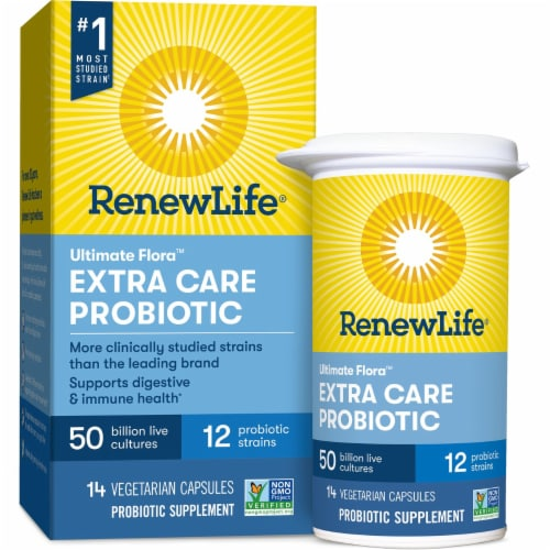 Ultimate Flora RenewLife Extra Care Probiotic Vegetarian Capsules Perspective: front