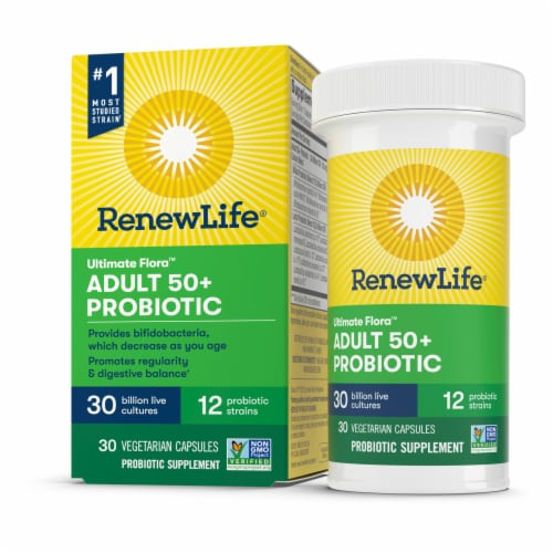 Renew Life Adult 50+ Probiotic Capsules Perspective: front