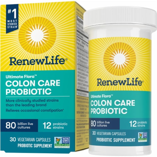 Ultimate Flora RenewLife Colon Care Probiotic Vegetarian Capsules Perspective: front