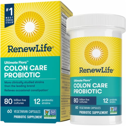 Renew Life Ultimate Flora Colon Care Probiotic Capsules Perspective: front
